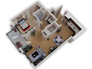 Capitol Yard Apartments_ West Sacramento CA_Floor Plan_One Bedroom One Bathroom A1